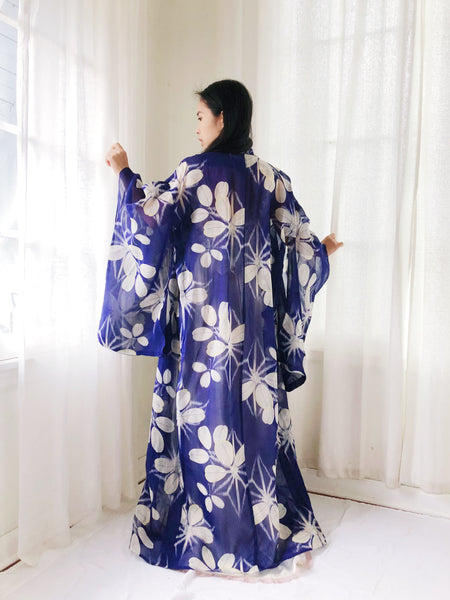 Antique Sheer Blue Floral Silk Kimono - One Size