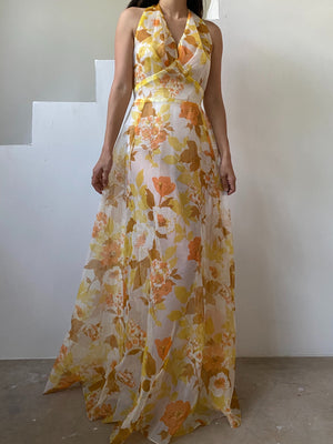1970s Sheer Yellow Floral Dress with Jacket - S