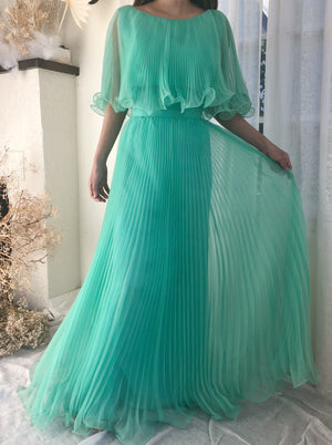 1960s Mint Pleated Chiffon Dress - S/M
