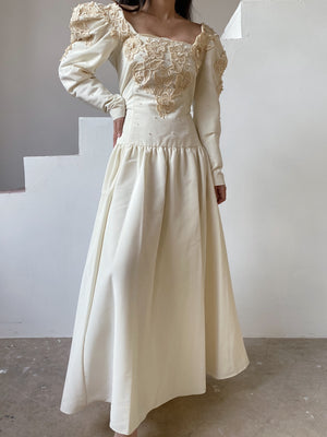 1980s Mutton Sleeve Embroidered Appliqués Gown - M