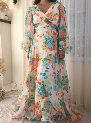 1970s Poly Chiffon Floral Dress - S