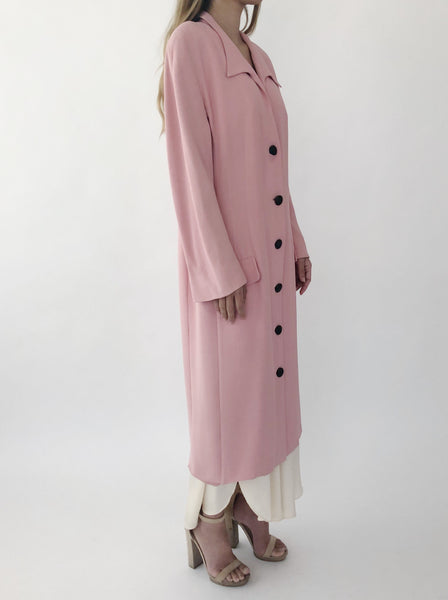 1980s Krizia Pink Duster Long Jacket - M