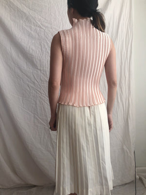 Vintage Peach Pleated Top - S/M
