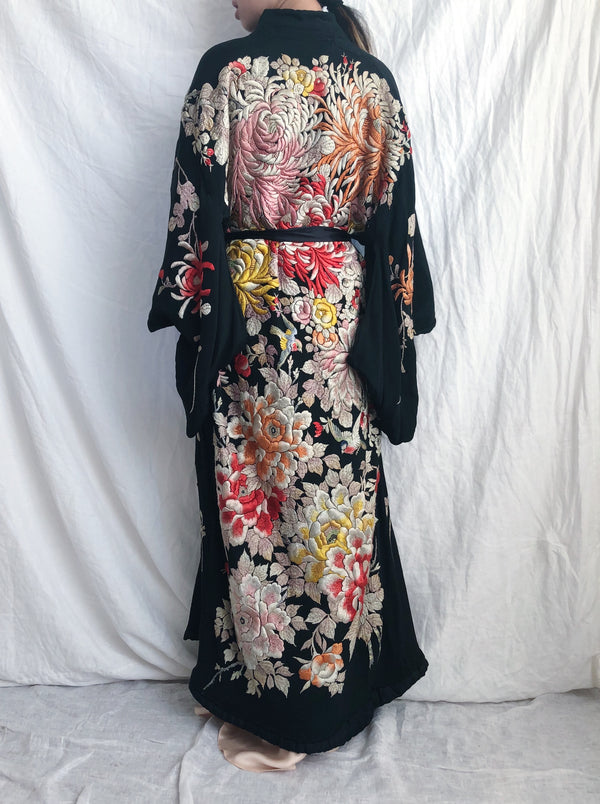 RARE Antique Couched Silk Floral Embroidered Kimono - OSFM