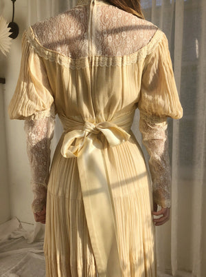 1970s Juliet Sleeves Cotton Gauze Dress - XS/S