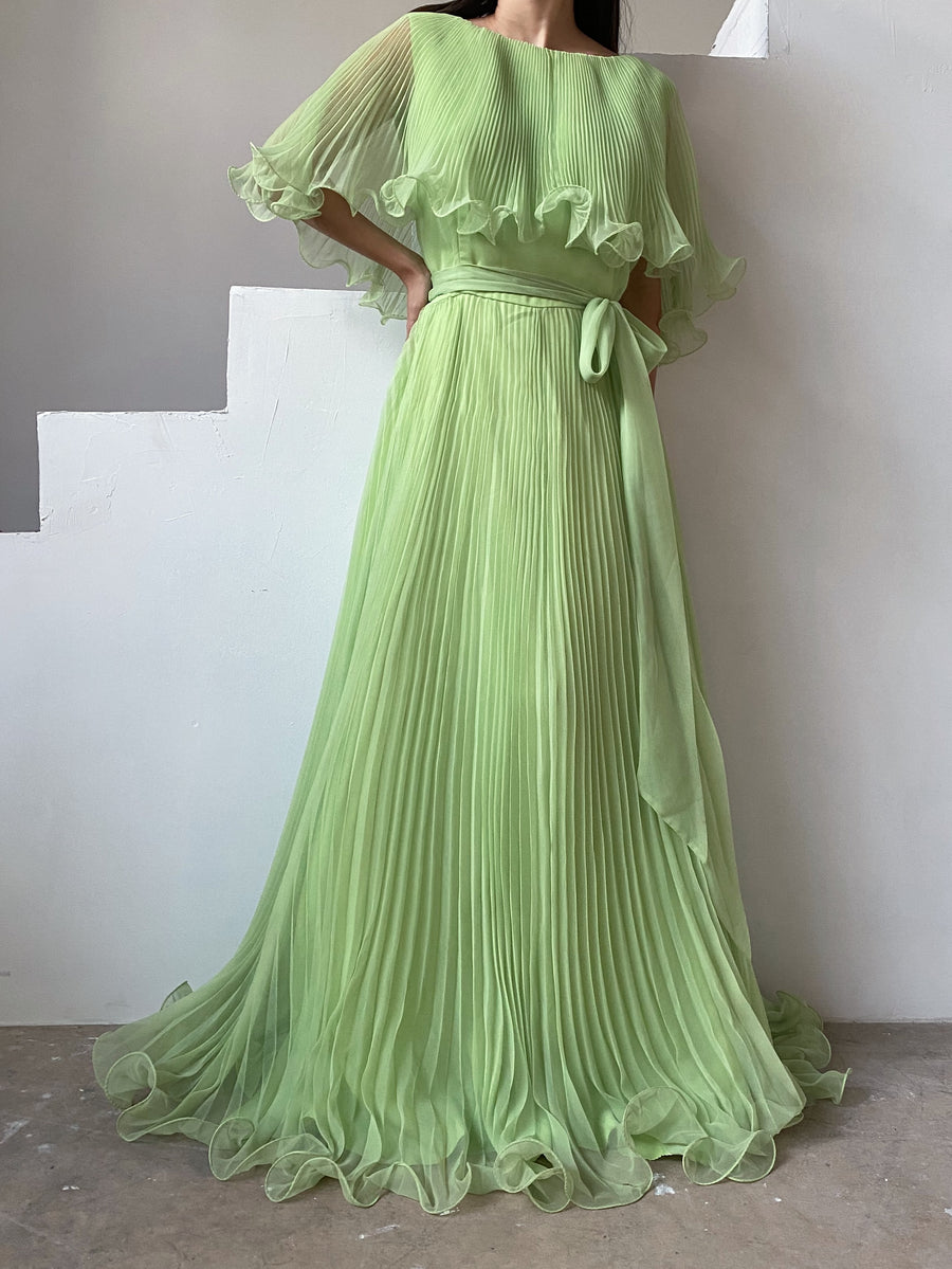 1960s Apple Green Pleated Chiffon Dress - M