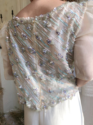 1980s Silk Beaded Embroidered Top - M