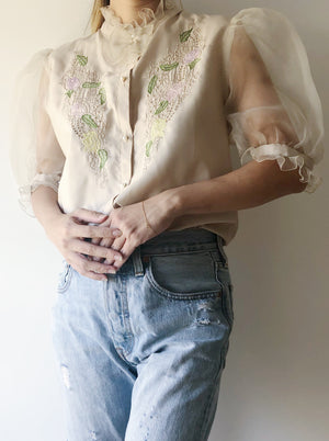 Vintage Taupe Top with Sheer Sleeves - S/M