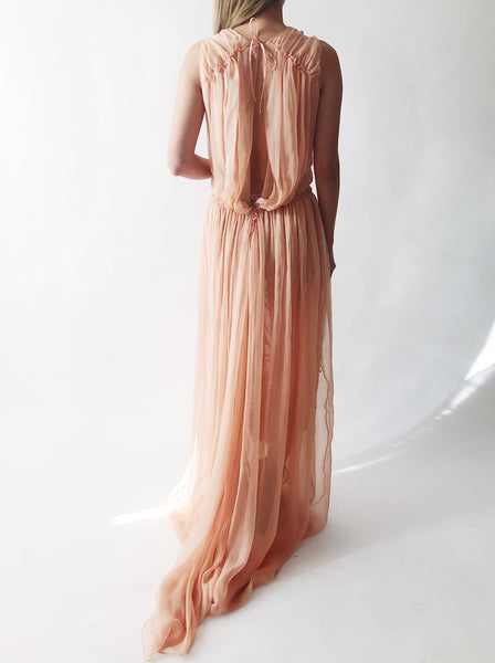 Alberta Ferretti Peach Silk Embroidered Gown - M/L