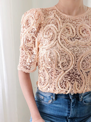 Vintage Beaded Peach Top - S/M