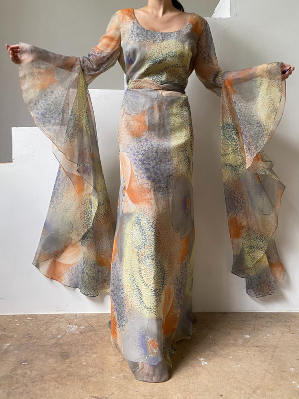Vintage Abstract Chiffon Angel Sleeves Dress - M/L
