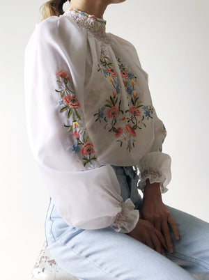 1970s Smocked Neck Hungarian Embroidered Top - S/M