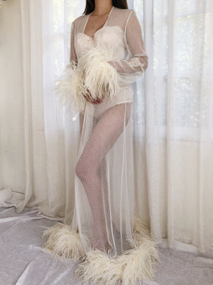 Vintage Tulle Feather Dressing Robe - OSFM