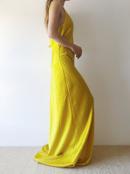 Yellow Silk Bias Cut Slip Dress - S/M