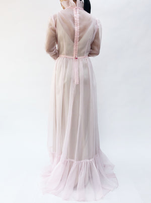 1960s Light Pink Sheer Tricot Ruffle Gown- S/M