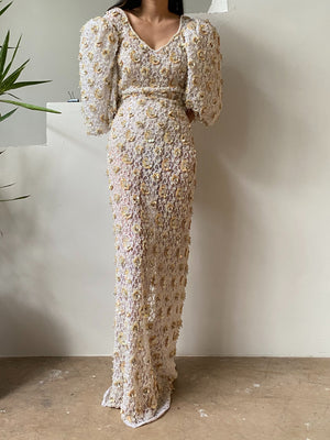 1980s Ivory Lace Pearl Beaded Gown - M/L