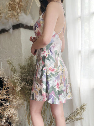 Vintage Floral Slip Slip Short Dress - S
