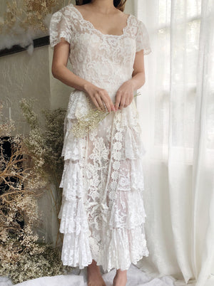 Antique Embroidered Lace Dress - XS
