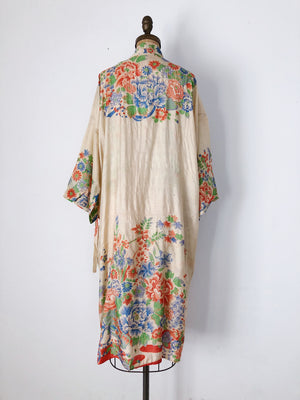 1920s Pongee Silk Floral Print Robe - One Size