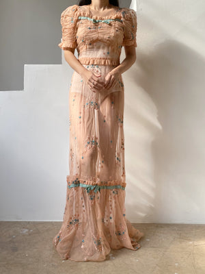 1940s Pink Silk Net Embroidered Gown - XS