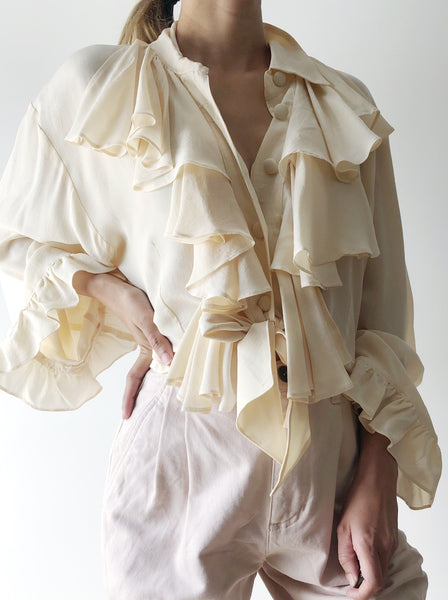 Vintage Ruffled Ivory Silk Blouse - S/M
