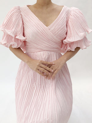 1960s Pink Micro Pleated Ruffle Sleeve Dress - S