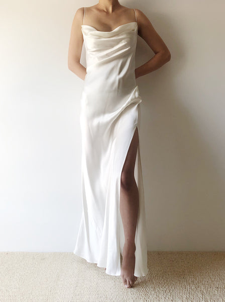 1990s Ivory Silk Charmeuse Bias Cut Dress - S