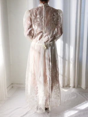 Vintage Sheer Embroidered Dress - M