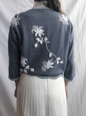 1950s Dusty Blue Beaded Cardigan - S/M