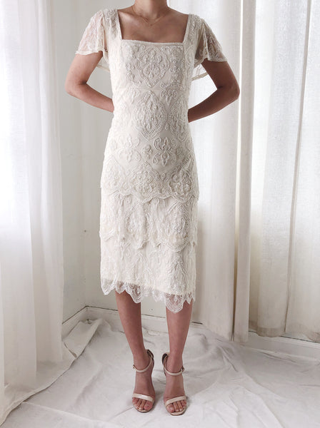 1980s Ivory Beaded Tiered Dress - S/M