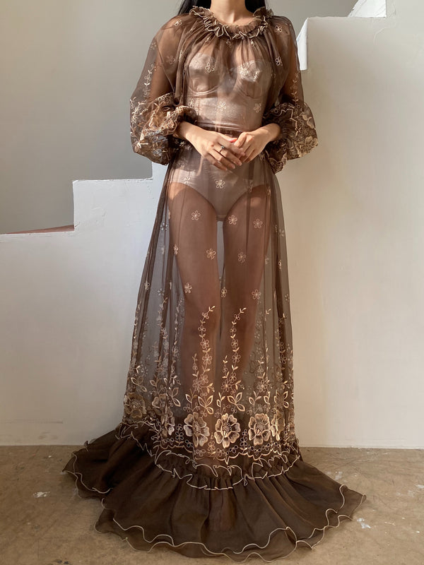 1960s Chocolate Silk Organza Dress - S