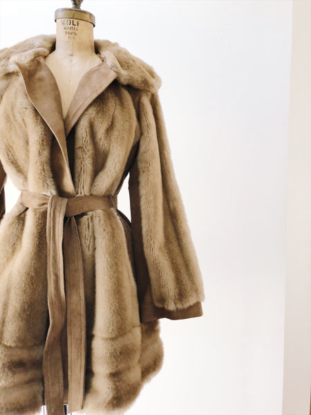 1970s Faux Mink Fur Coat - S/M