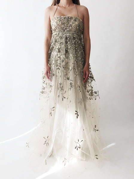 66f413ea37 ... Oscar De La Renta Metallic Embroidered Gown - XS S