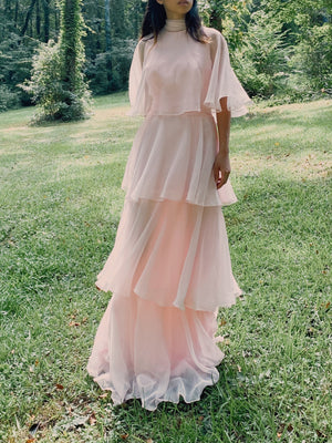 1960s Light Pink Layered Chiffon Gown - S