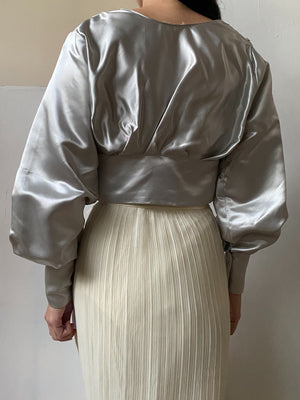 1980s Satin Puff Sleeve Top - XS/S