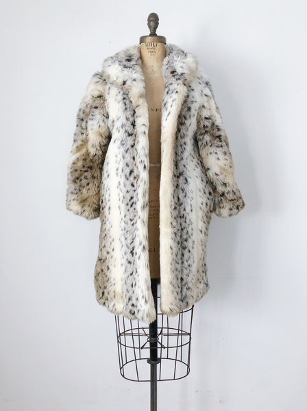 1970s Spotted Faux Fur Coat - M/L