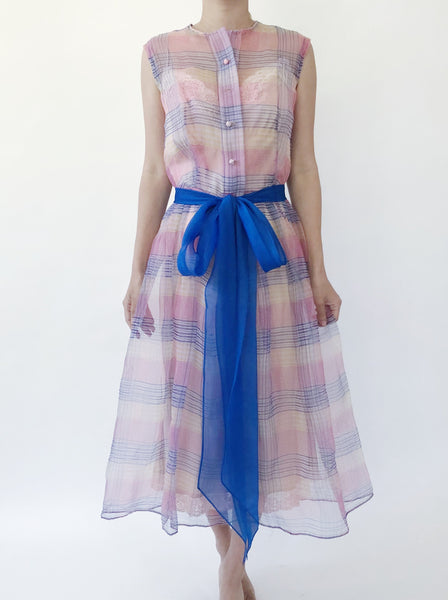 1950s Organza Plaid Dress - S