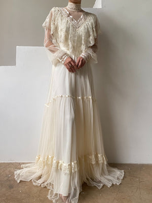 1970s Gunne Sax Tulle Gown - S