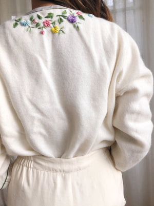 1950s Embroidered Cashmere/Wool Cardigan - S/M
