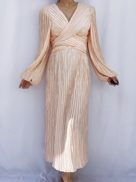 1980s Peachy Pink Micropleated Dress - M/L