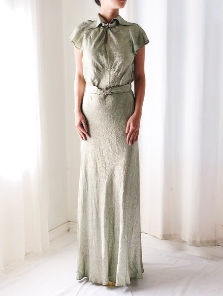 1930s Mint Green Silk Lamé Gown - S