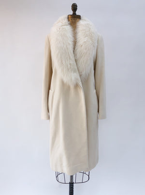 VTG Ivory Fur Wool Collar Coat - S/M