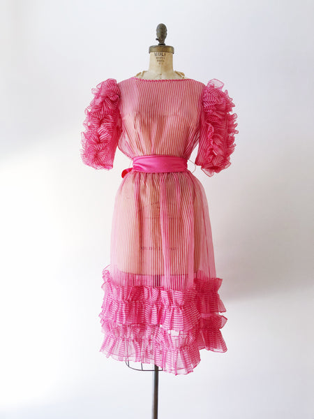 1960s Pink Organza Ruffled Dress - S/M