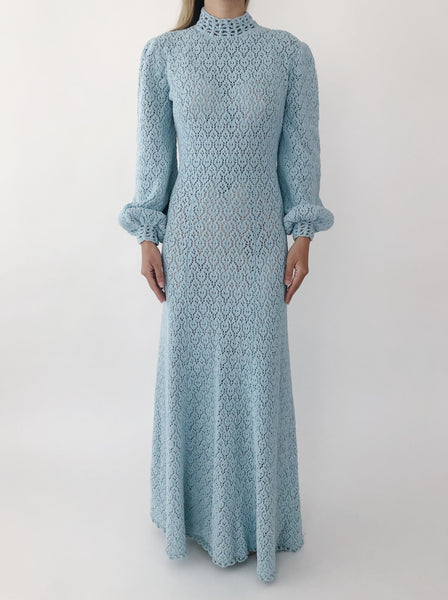 1960s Baby Blue Knit Dress - XS-M