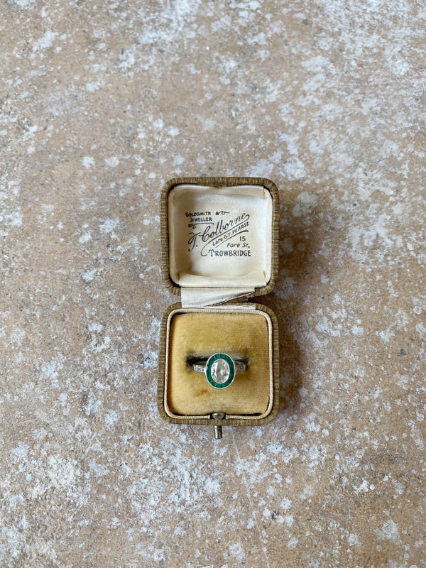 Antique Beige Leather Silk Lined Ringbox