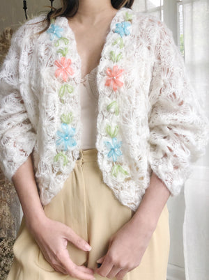 1950s Embroidered Knit Cardigan - M