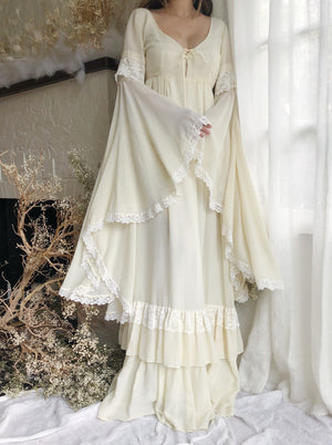 Vintage Ivory Angel Sleeve Dress - M/L