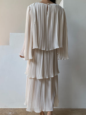 Vintage Ivory Pleated Trapeze Dress - M