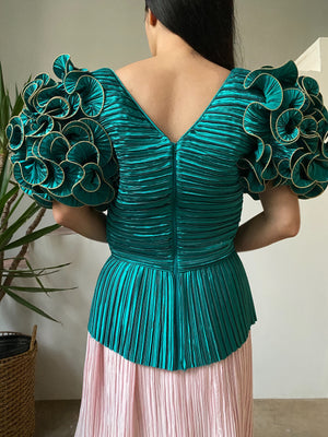 Vintage Teal Micro Pleated Top - S