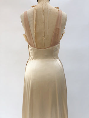 1930s Silk Charmeuse Slip Gown with Lace Insert - S